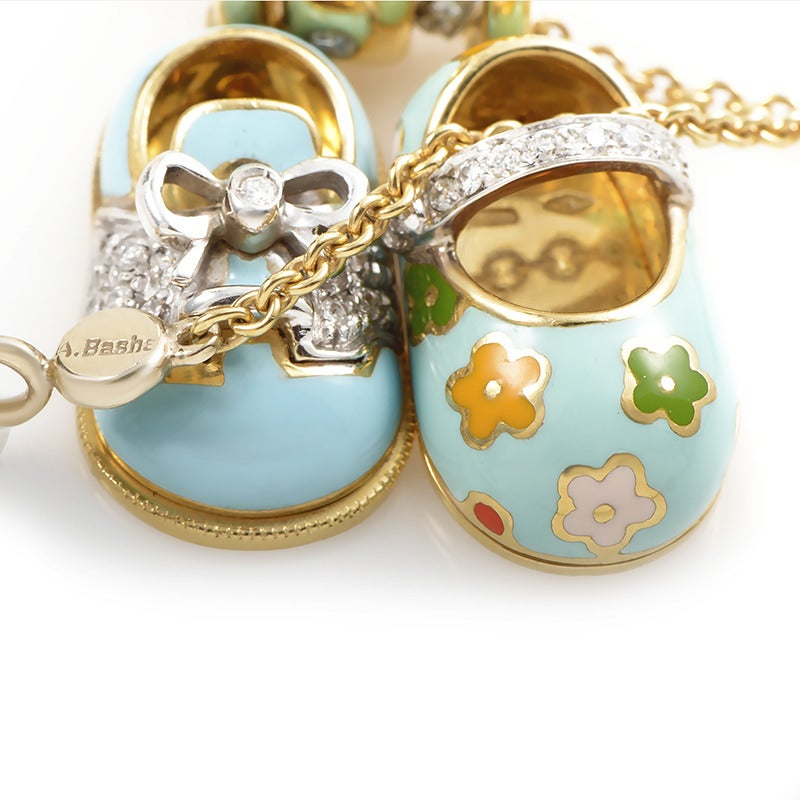 Aaron Basha Diamond Gold Baby Shoe Charm Necklace at 1stdibs