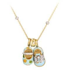 Aaron Basha Diamond Gold Baby Shoe Charm Necklace