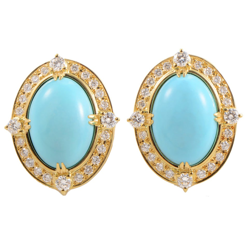 mikimoto yellow gold turquoise and diamond earrings at 1stdibs. Black Bedroom Furniture Sets. Home Design Ideas
