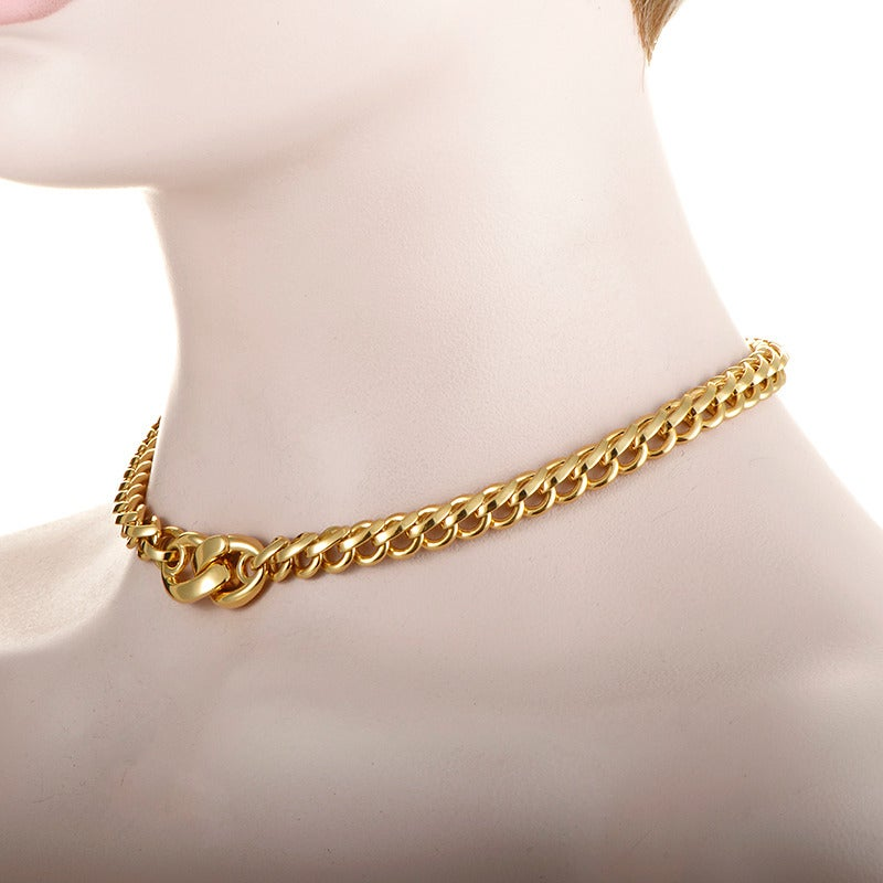 Pomellato Gold Chain Choker Necklace In As New Condition For Sale In Southhampton, PA