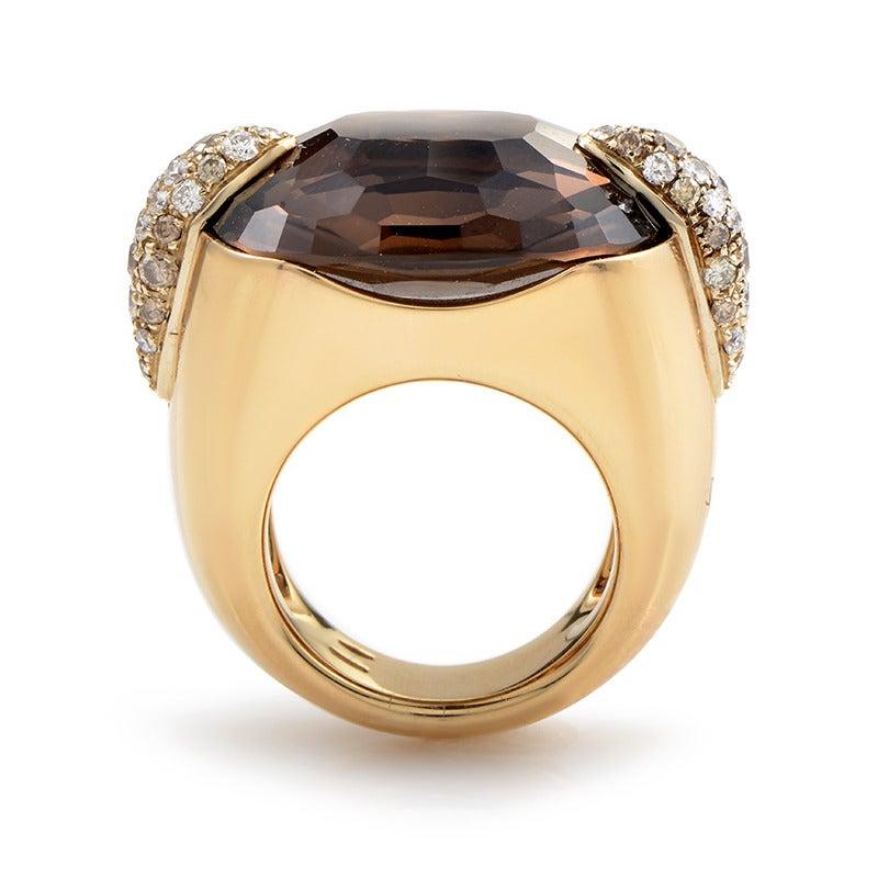 Pomellato Pin Up Yellow Gold Smoky Quartz Diamond Ring 2