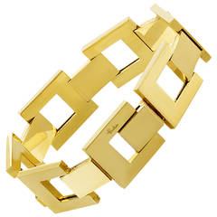 Pomellato Large Rectangular Gold Link Bracelet
