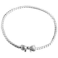 Pomellato White Gold Diamond Bow Necklace