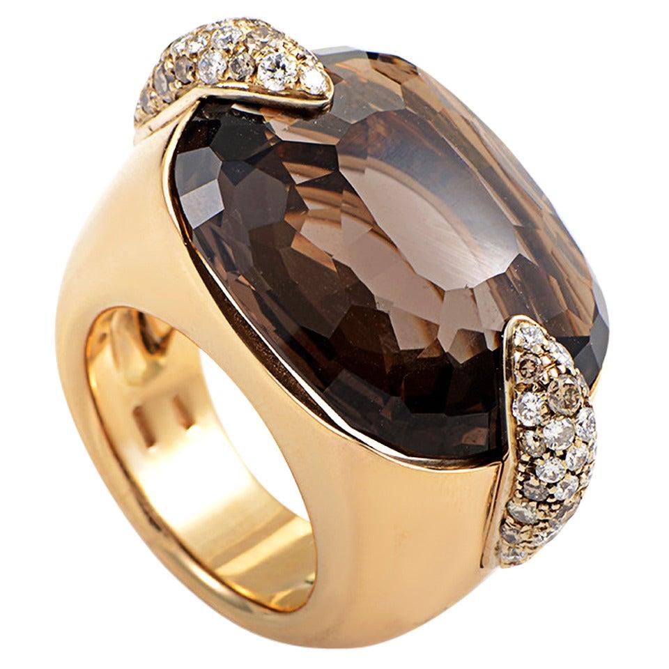 Pomellato Pin Up Yellow Gold Smoky Quartz Diamond Ring 1