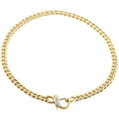 Pomellato Diamond Gold Lock Necklace