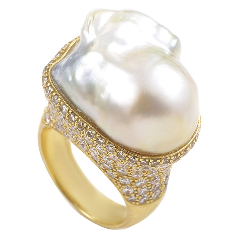 Baroque pearl rings : Jose hess baroque pearl diamond gold cocktail ring at stdibs