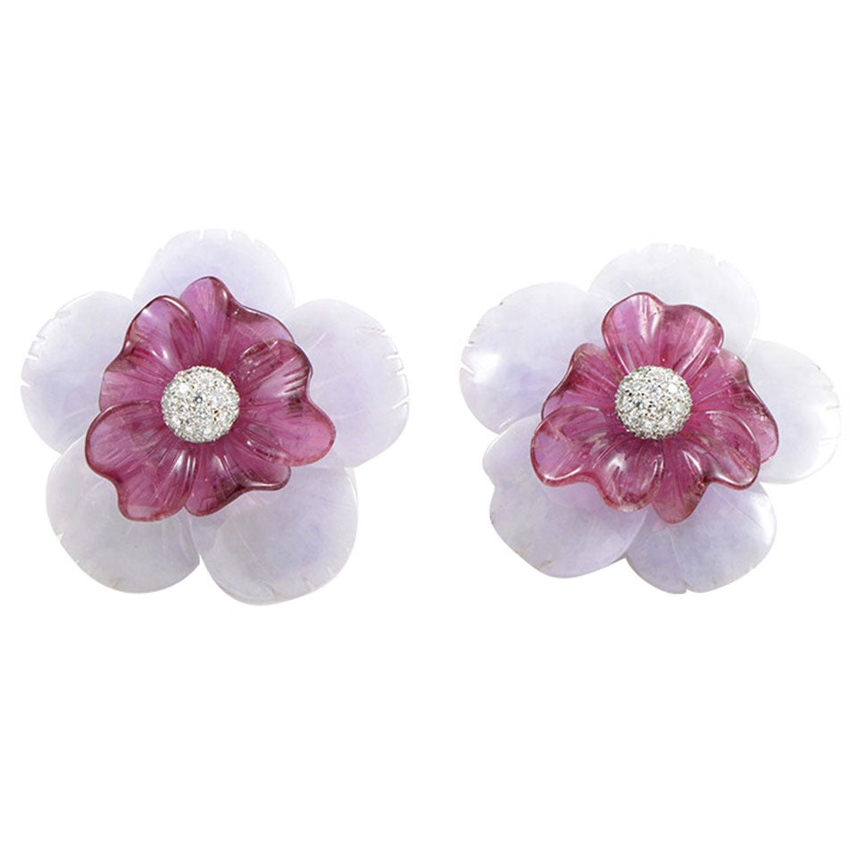 Sabbadini Gemstone Diamond Gold Flower Clip-On Earrings 1