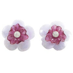 Sabbadini Gemstone Diamond Gold Flower Clip-On Earrings