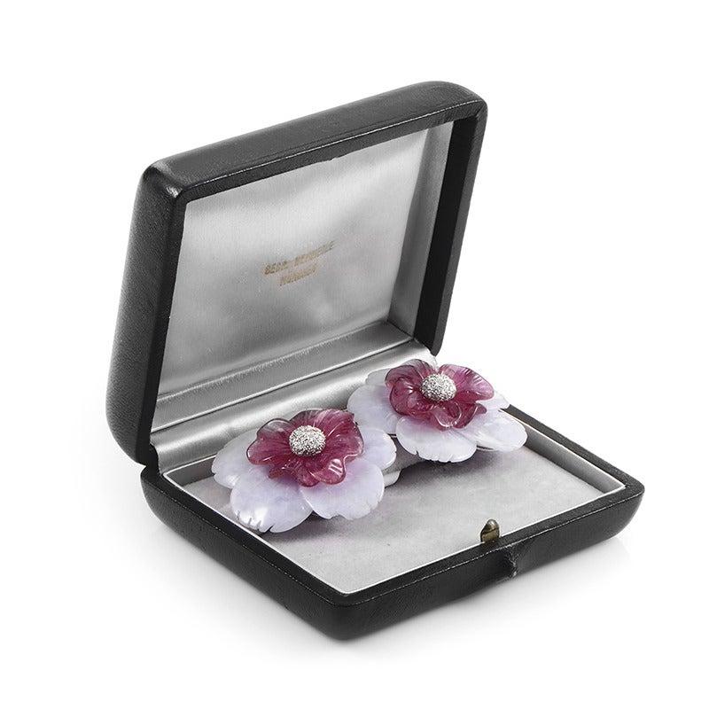 Sabbadini Gemstone Diamond Gold Flower Clip-On Earrings 4