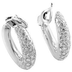 Van Cleef & Arpels Diamond Pave Gold Hoop Earrings
