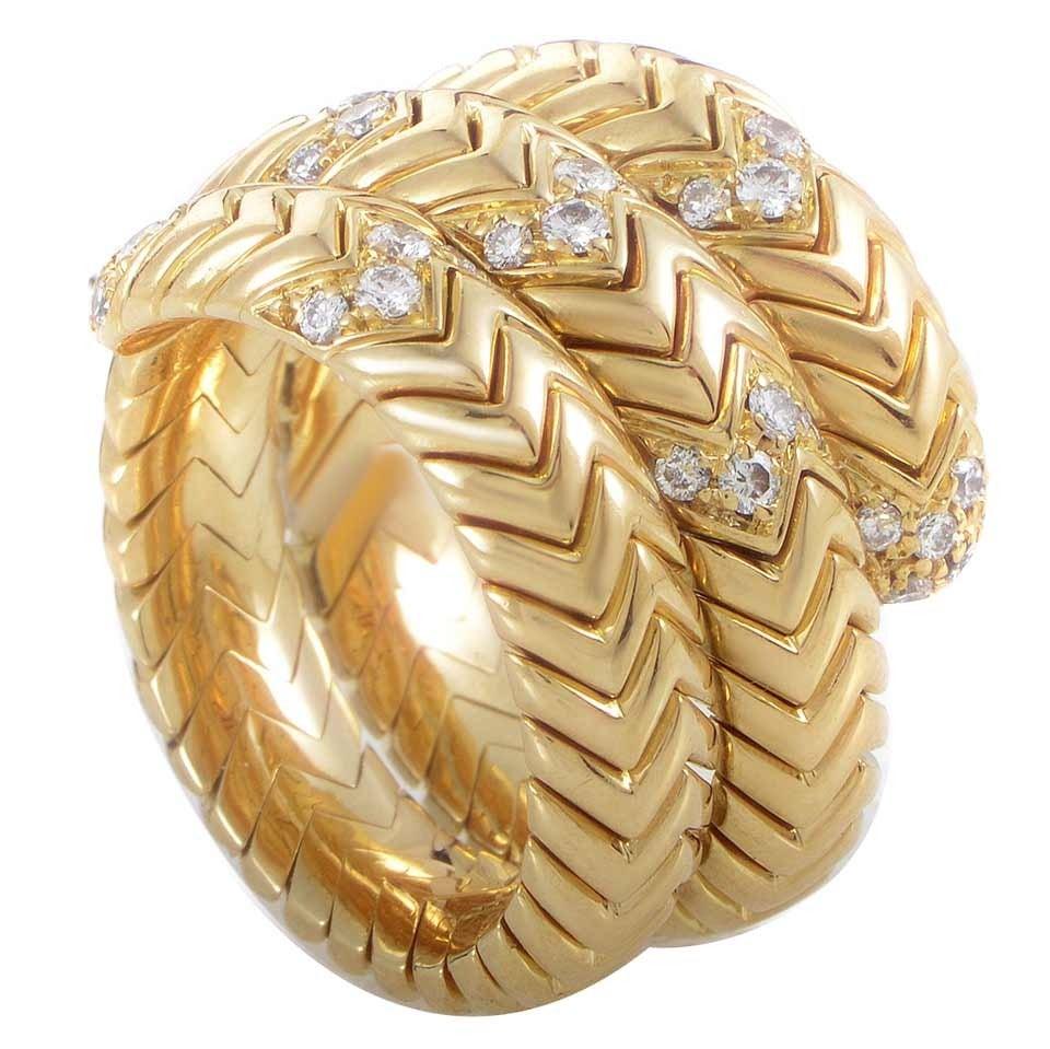 bulgari spiga diamond gold band ring 1