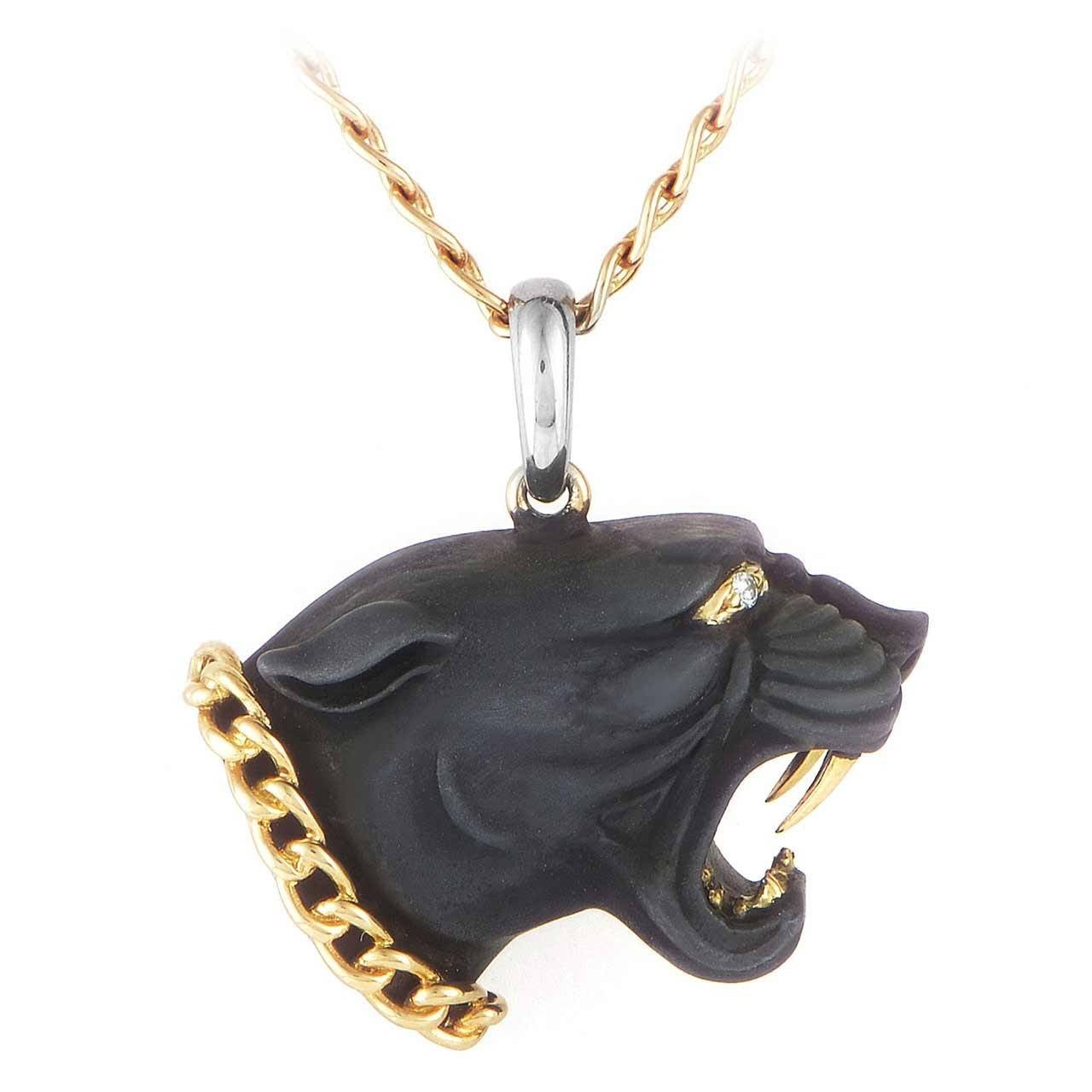 y multi tone gold panther necklace