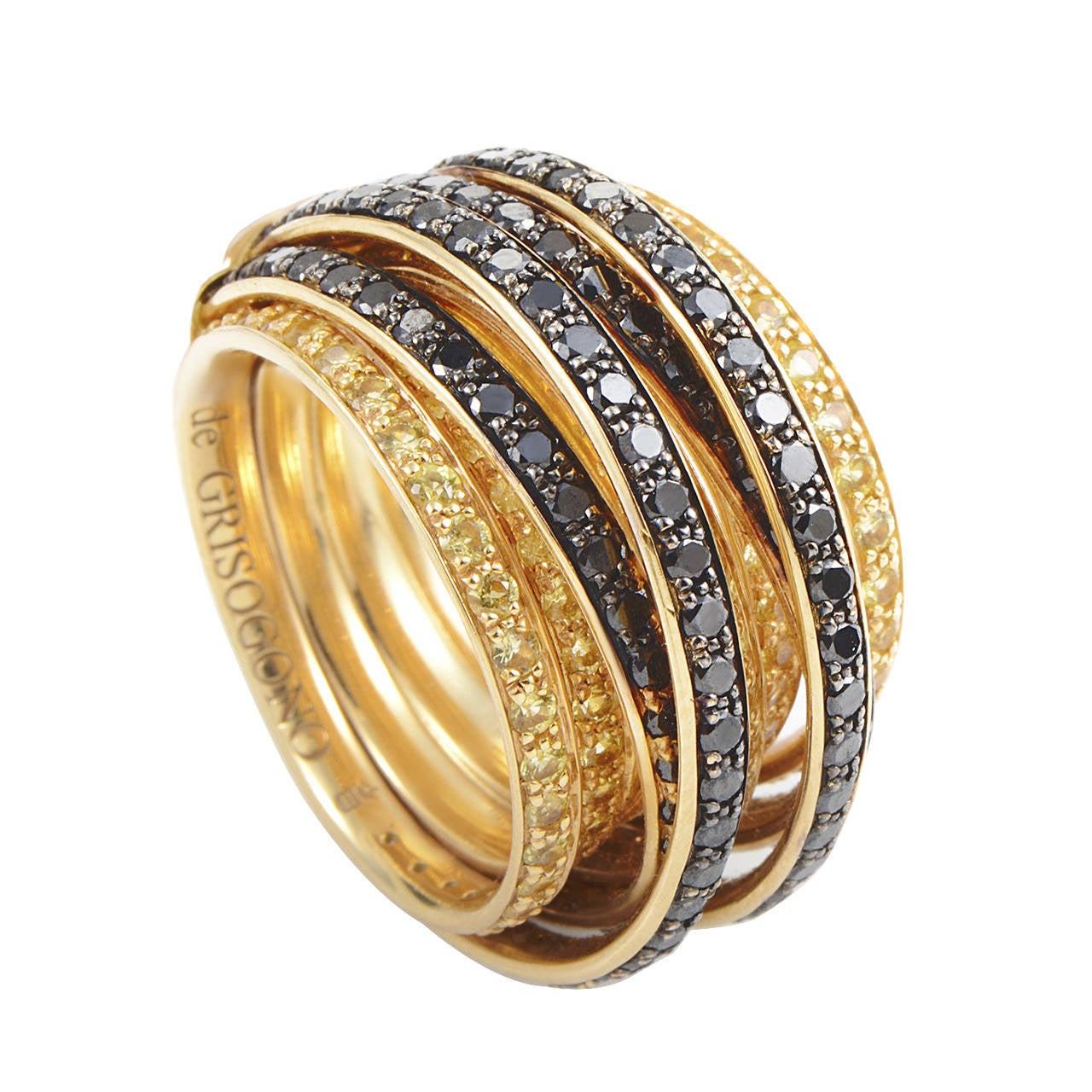 de Grisogono Allegra Yellow Sapphire Diamond Gold Band ...