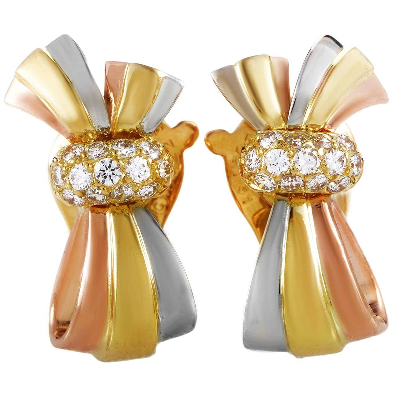 Van Cleef & Arpels Diamond Tri-Tone Gold Bow Clip-On Earrings 1