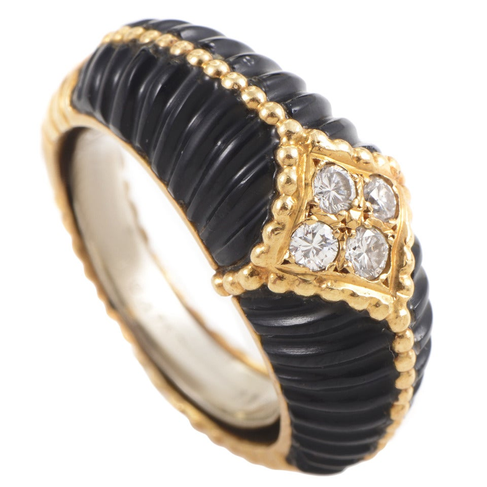 Van Cleef & Arpels Onyx Diamond Gold Band Ring For Sale