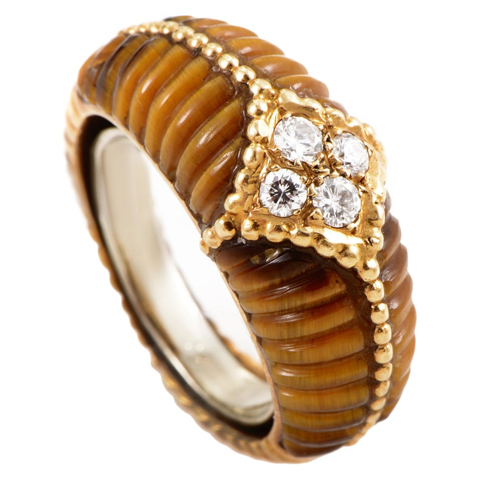 Van Cleef & Arpels Tiger's Eye Diamond Gold Band Ring