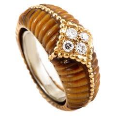 Van Cleef & Arpels Tiger's Eye Diamond Gold Band Ring