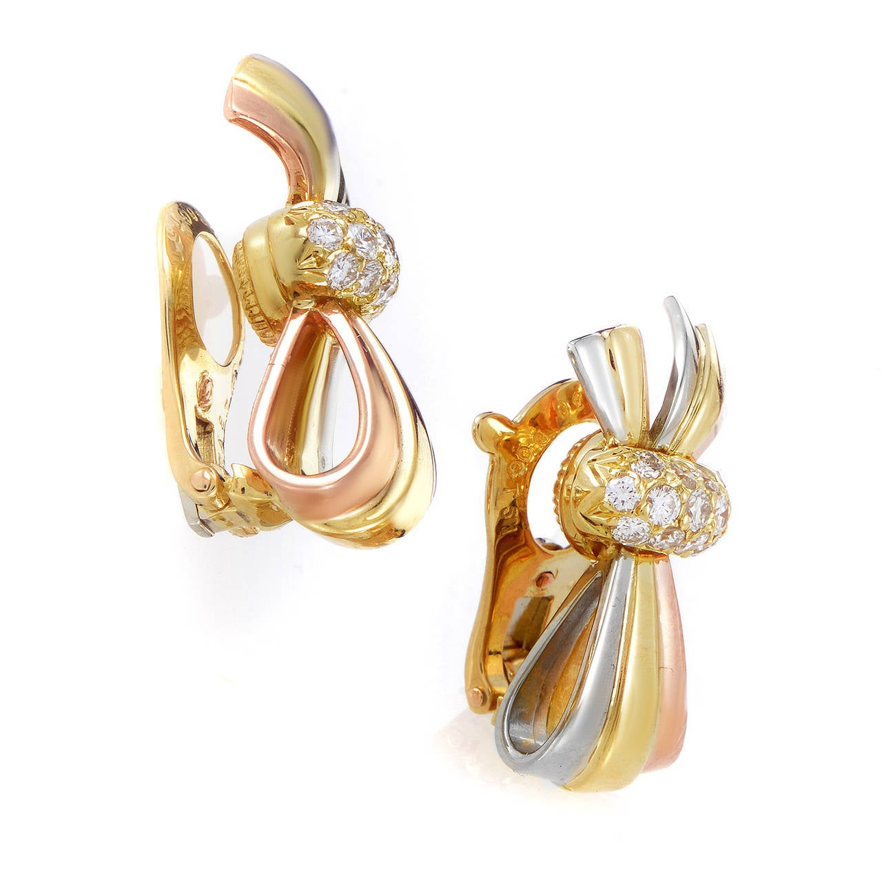 Van Cleef & Arpels Diamond Tri-Tone Gold Bow Clip-On Earrings 2