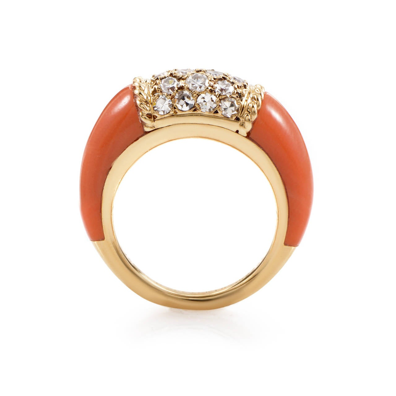 Van Cleef and Arpels Coral Diamond Gold Band Ring at 1stdibs