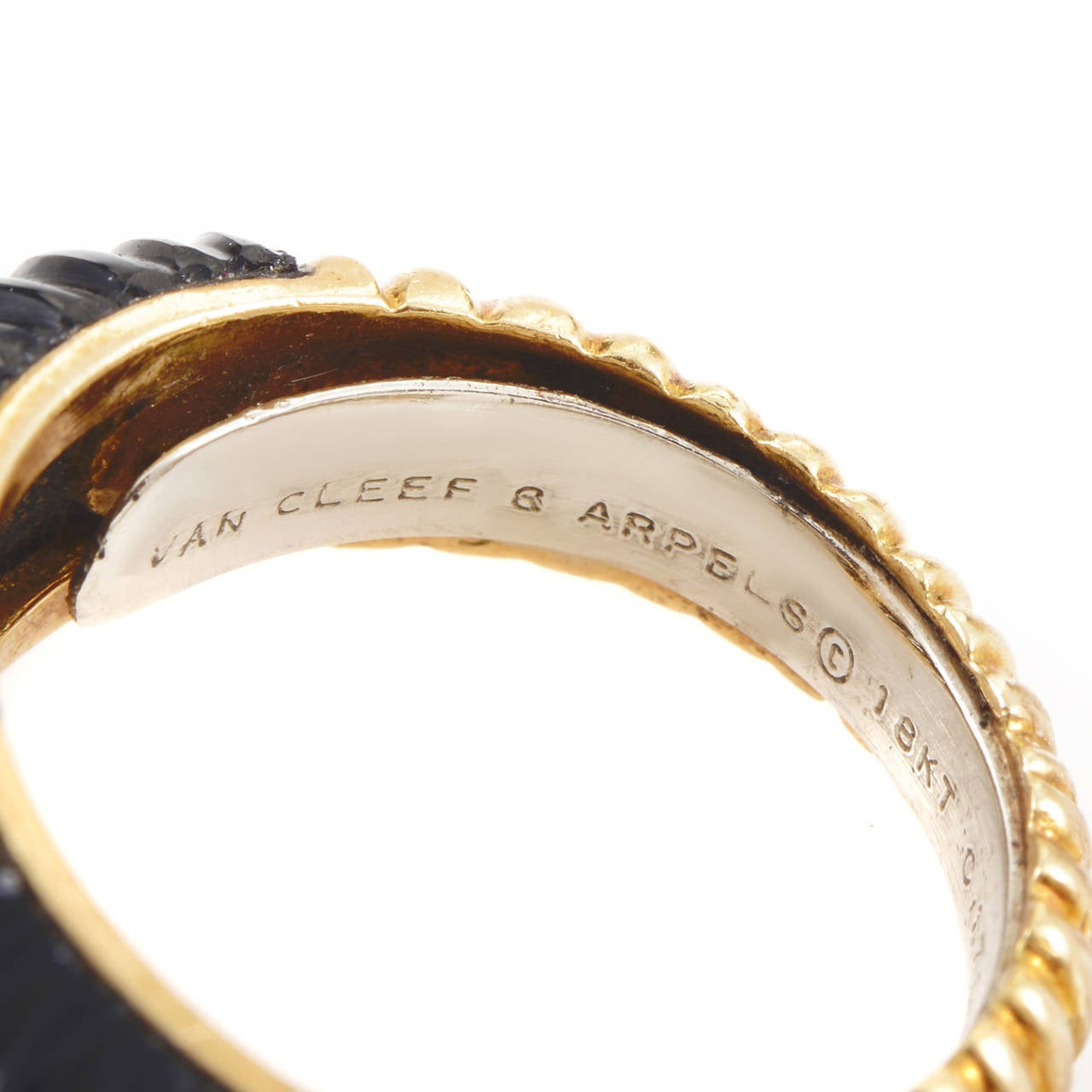 Women's Van Cleef & Arpels Onyx Diamond Gold Band Ring For Sale