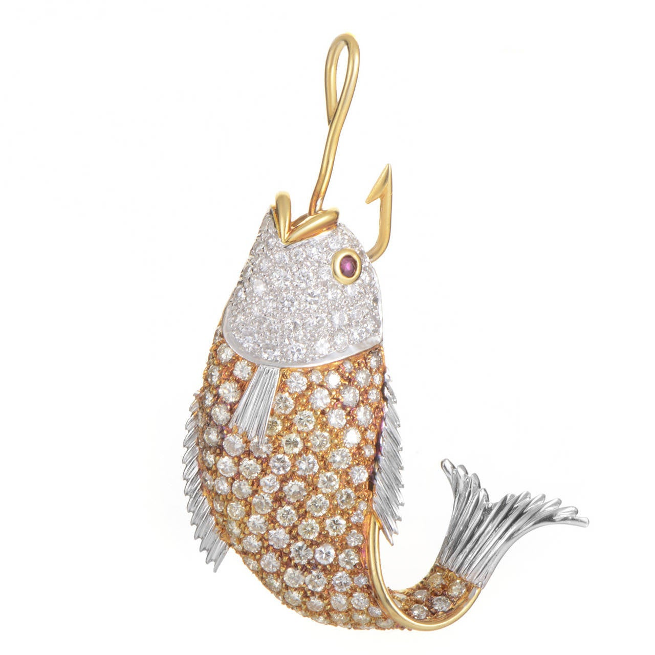 Multicolor gold gemstone fish pendant at 1stdibs for Gold fish pendant