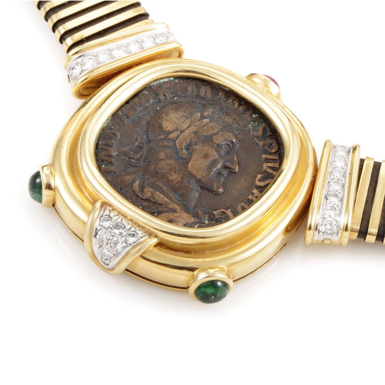 bulgari monete gem set gold platinum ancient coin necklace 3