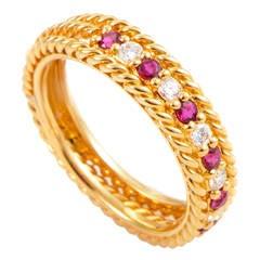 Dior Ruby Diamond Gold Band Ring