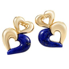 Van Cleef & Arpels Lapis Gold Clip-On Earrings