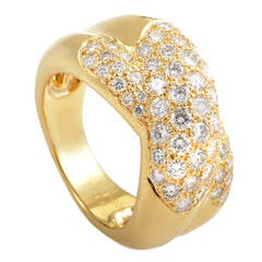 Cartier Trinity de Cartier Partial Diamond Pave Gold Band Ring