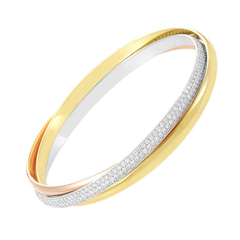Cartier Trinity Tri Gold Diamond Bangle Bracelet at 1stdibs