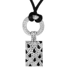 Cartier Panthere Diamond Pave and Onyx White Gold Pendant and Cord Necklace