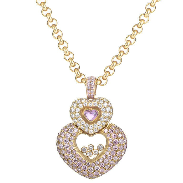 9b61636baa776 Chopard Imperiale 18K Yellow Gold Pink   White Diamond Heart Pendant  Necklace For Sale