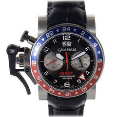 Graham Stainless Steel Oversize GMT Chronograph Wristwatch with Date