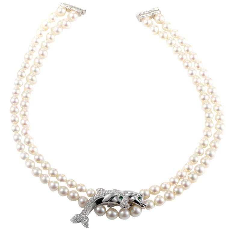 cartier strand pearl white gold dolphin