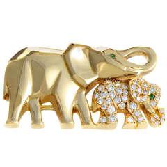 Cartier Diamond Yellow Gold Elephants Brooch