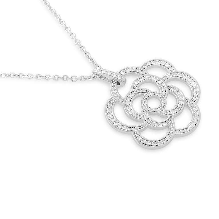 62c43040ec2b1 Chanel Ellia Diamond White Gold Pave Pendant Necklace At 1stdibs