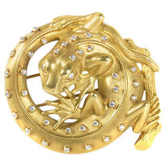 Kieselstein-Cord Diamond Gold Coiled Lizard Brooch