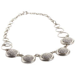 Gurhan Diamond Platinum Pave Discs Necklace