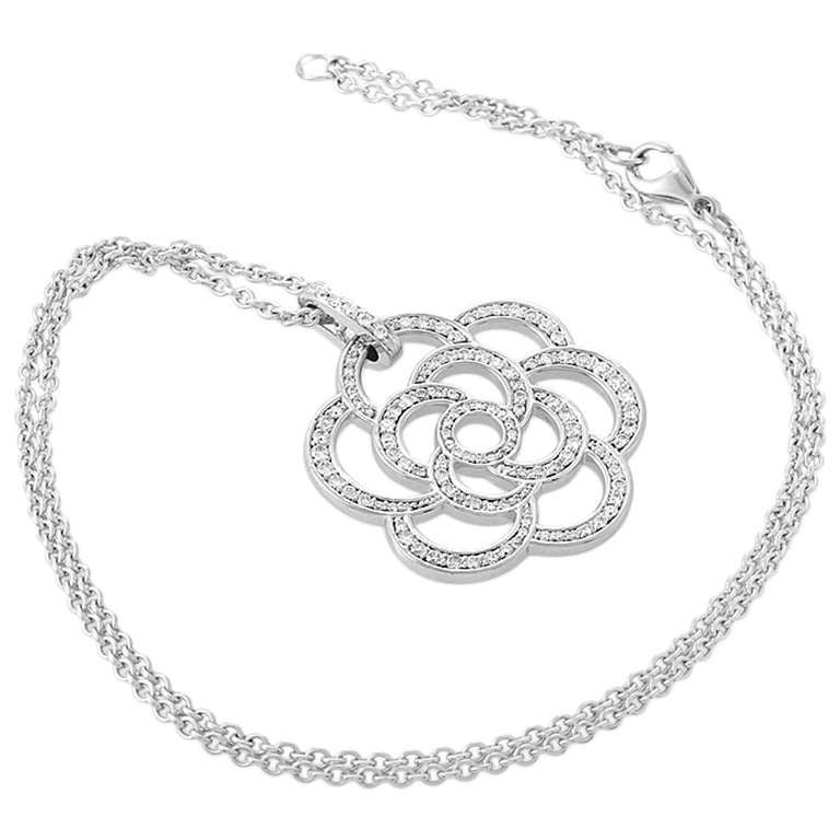 Chanel camellia diamond white gold pave pendant necklace at 1stdibs aloadofball Choice Image