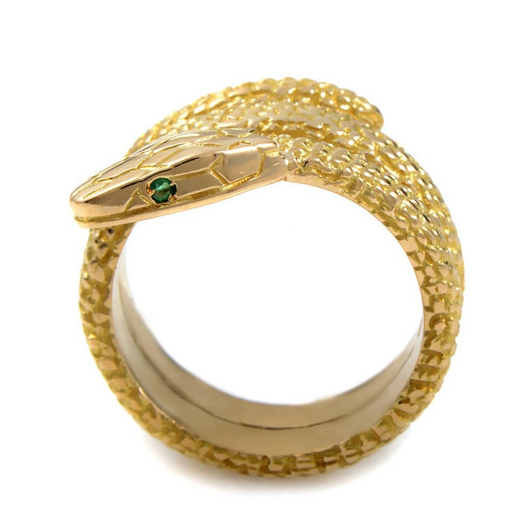 cartier emerald yellow gold snake ring at 1stdibs