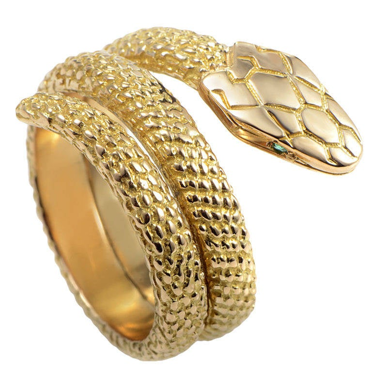 daa9cd9c28f80 Cartier Emerald Yellow Gold Snake Ring