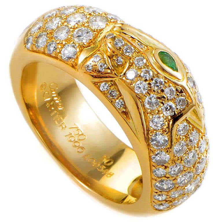 Cartier Panthere Diamond Yellow Gold Pave Band Ring