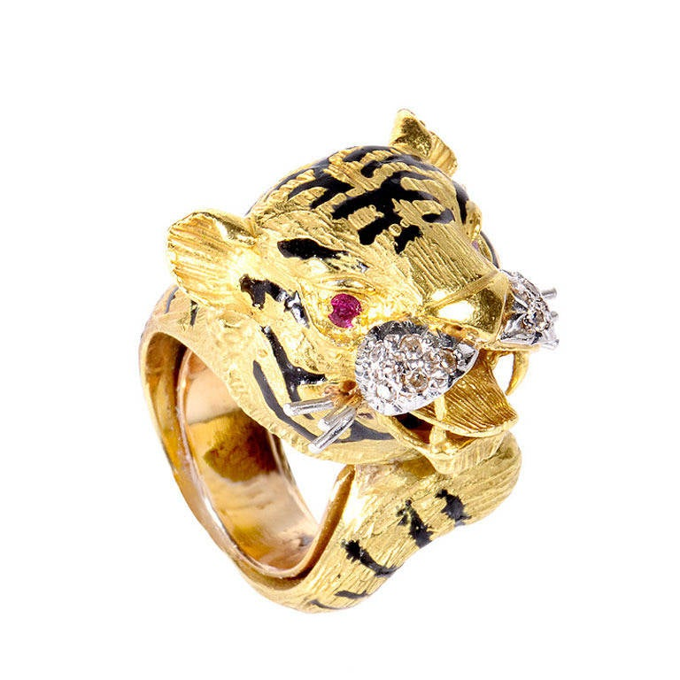 ruby yellow and white gold tiger ring at 1stdibs