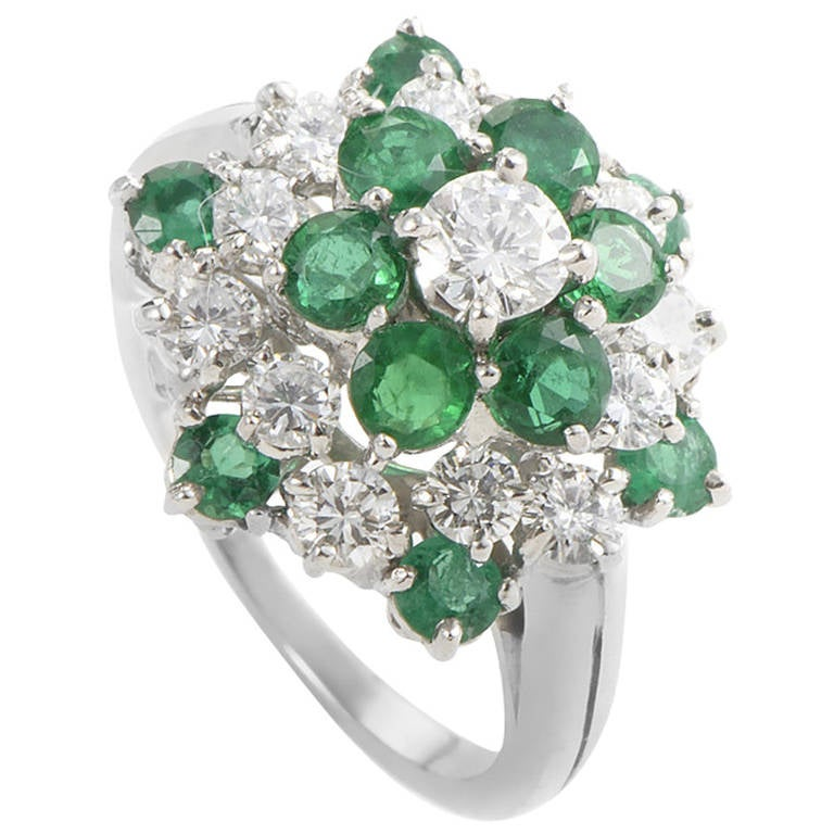 Oscar Heyman Emerald Diamond Platinum Cluster Ring At 1stdibs