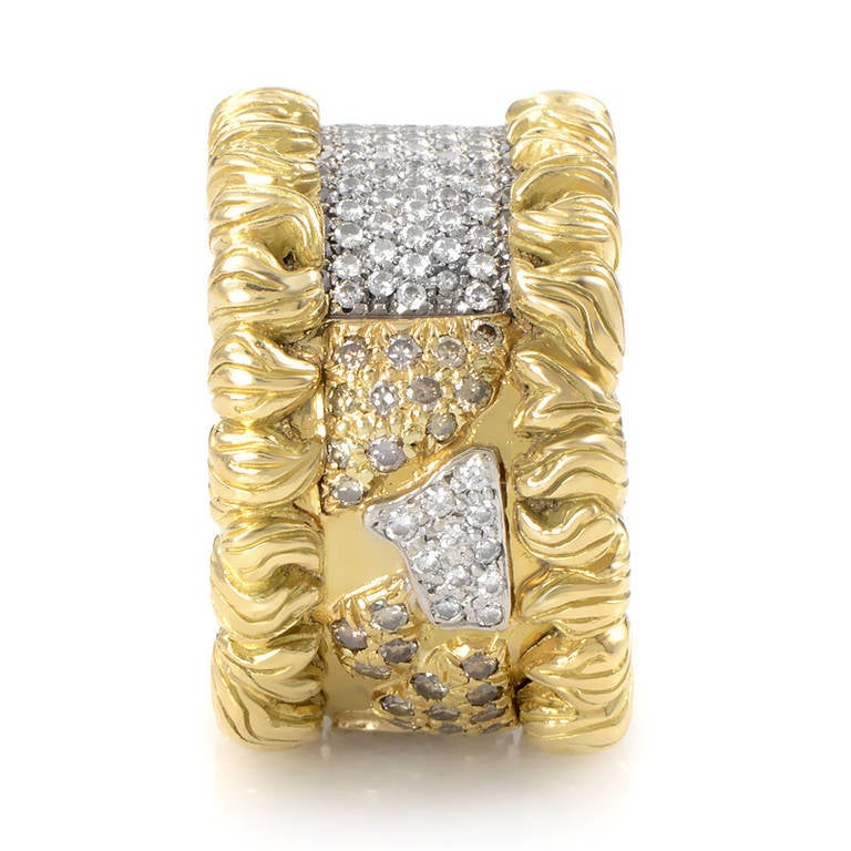 h stern wide yellow gold diamond pave band ring 3