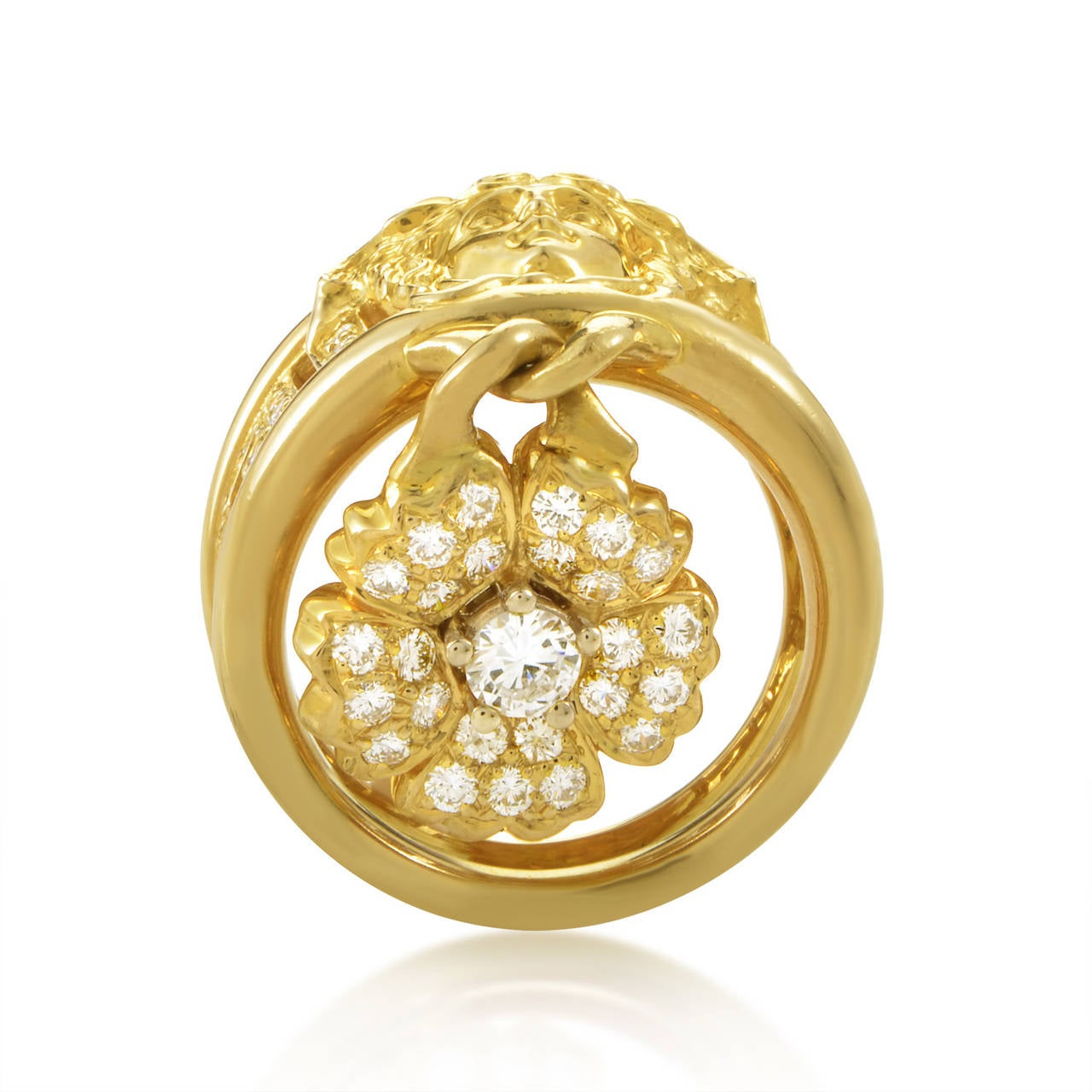 versace pave gold flower charm ring at 1stdibs