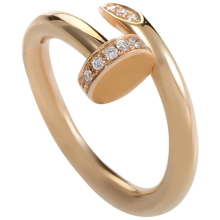 Cartier Juste un Clou Rose Gold Diamond Ring at 1stdibs