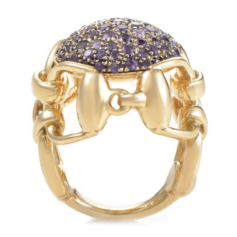 gucci amethyst pave yellow gold horsebit ring at 1stdibs