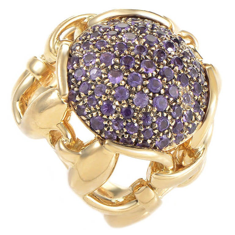 Gucci Amethyst Pave Yellow Gold Horsebit Ring
