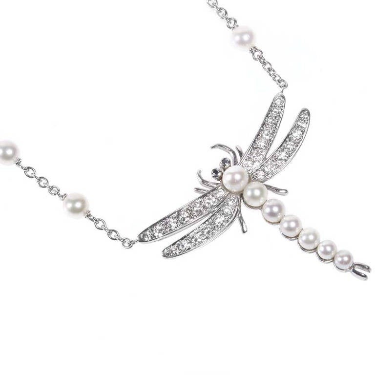Tiffany and co pearl diamond platinum dragonfly pendant necklace at pearl diamond platinum dragonfly pendant necklace for sale mozeypictures Images
